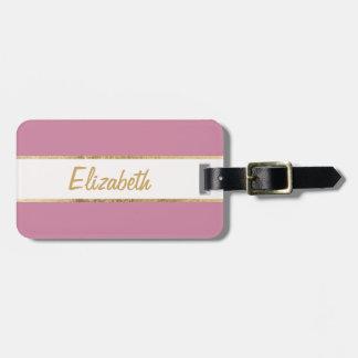 Elegant & Simple Faux Gold and Rose Pink Monogram Bag Tag