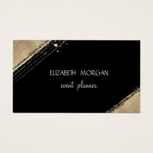 Elegant Simple Faux Gold ,Black Business Card