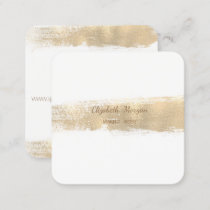 Elegant Simple Faux Gold Foil Brush Stroke,White Square Business Card
