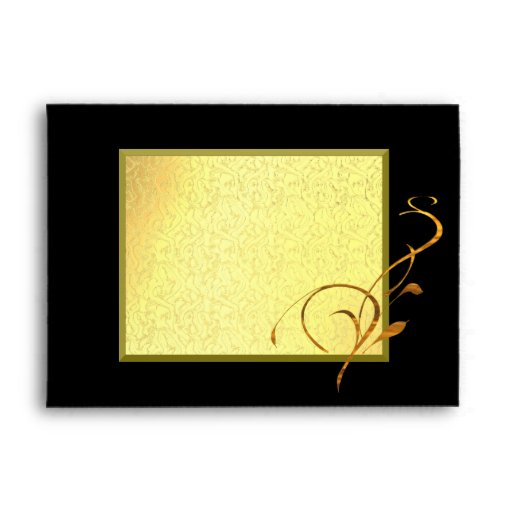 Elegant Simple Gold Black Scroll Envelope