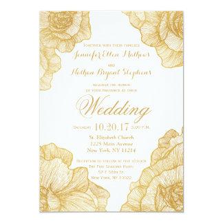 Simple elegant 5x7 invitation cards zazzle for Minimalist floral wedding invitations