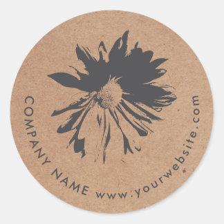 Elegant Simple Grey Flower Kraft Paper Florist Classic Round Sticker