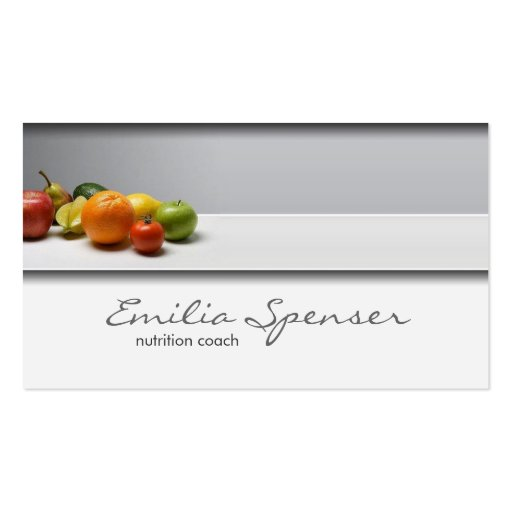 Elegant Simple Grey Healthy Life/Nutritionist Card Business Cards