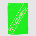[ Thumbnail: Elegant, Simple, Lime Background and Bisque Name Golf Towel ]