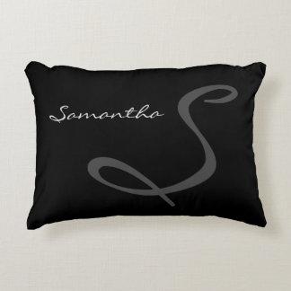 elegant simple modern chic trendy monogram black decorative pillow