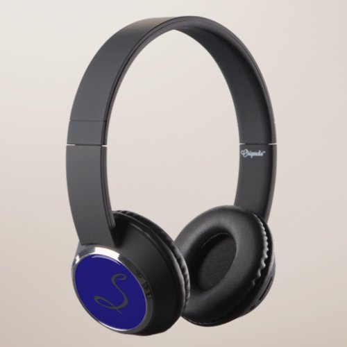 elegant simple modern chic trendy monogram blue headphones