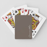 "elegant simple modern chic trendy monogram gray playing cards<br><div class=""desc"">This stunning,  sophisticated design features your monogram in a steel gray,  on a solid dark gray background. Pure elegant simplicity in a contemporary presentation,  this design makes the perfect gift for the stylish woman.</div>"