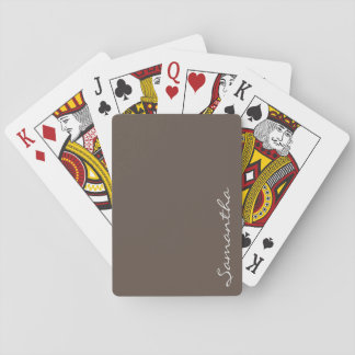 elegant simple modern chic trendy monogram gray playing cards