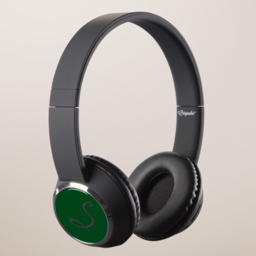 elegant simple modern chic trendy monogram green headphones