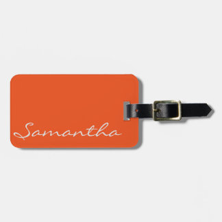 elegant simple modern chic trendy monogram orange bag tag