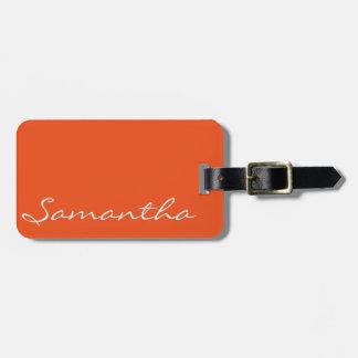 elegant simple modern chic trendy monogram orange bag tag