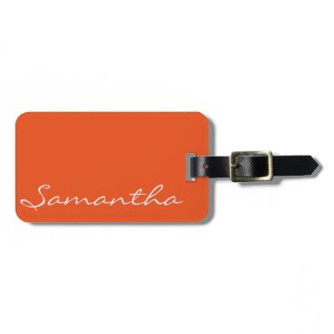 The_Monogram_Shop elegant simple modern chic trendy monogram orange bag tag