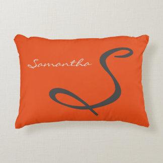 elegant simple modern chic trendy monogram orange decorative pillow