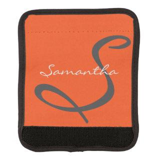 elegant simple modern chic trendy monogram orange luggage handle wrap