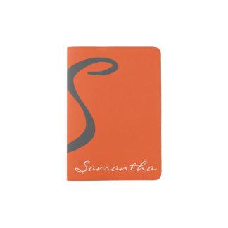 elegant simple modern chic trendy monogram orange passport holder