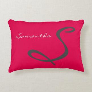 elegant simple modern chic trendy monogram pink decorative pillow