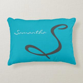elegant simple modern chic trendy monogram teal decorative pillow