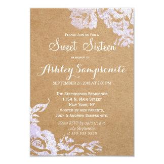 Elegant Simple Modern Rose Floral Faux Silver Card