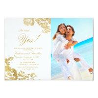 Elegant Simple Modern Rose Floral Gold Engagement Invitation