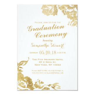 Elegant Simple Modern Rose Floral Gold Faux Print 3.5x5 Paper Invitation Card