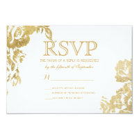 Elegant Simple Modern Rose Floral Gold Faux Print Card