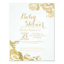 Elegant Simple Modern Rose Floral Gold Faux Print Invitation