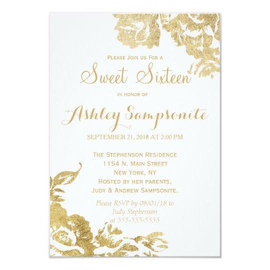 Elegant Simple Modern Rose Floral Gold Sweet 16 Invitation Zazzle Com