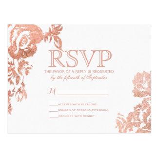 Elegant Simple Modern Rose Gold Floral Faux Print Postcard