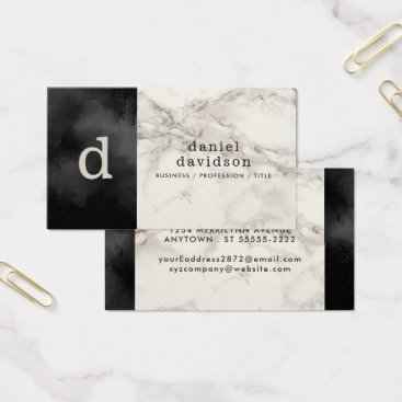 Professional Business Elegant Simple Monogram, Charcoal and Gray Marble Business Card