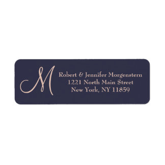 Elegant Simple Navy Blue and Pale Pink Monogram Label