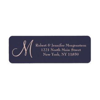 Elegant Simple Navy Blue and Pale Pink Monogram Label