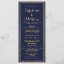Elegant simple navy blue faux gold Wedding Program