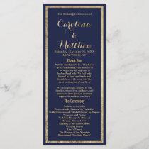 Elegant simple navy blue faux gold Wedding Program