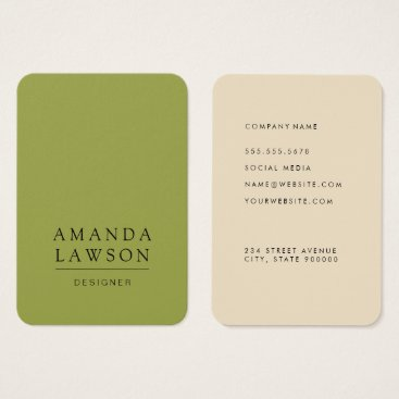 Elegant Simple Olive Green and Beige Business Card
