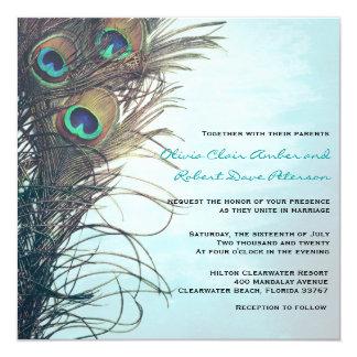 Elegant Simple Peacock Feathers Wedding Invitation