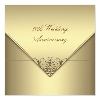 Elegant Simple Pure Gold 50th Wedding Anniversary Personalized Invite