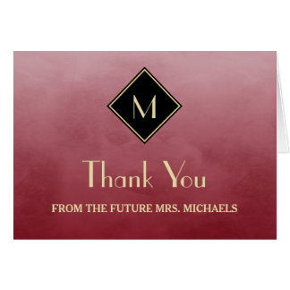 Elegant Simple Red With Gold Monogram Thank You Card