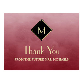 Elegant Simple Red With Gold Monogram Thank You Postcard