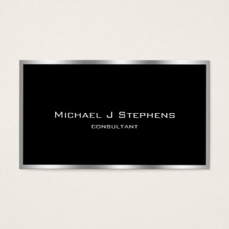 Elegant Simple Silver Border Black and Chrome Business Card