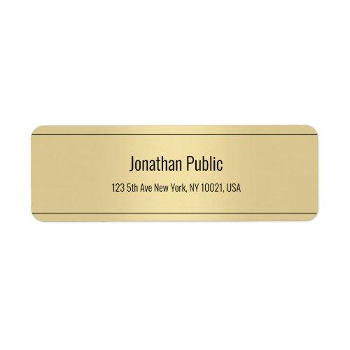 Elegant Simple Template Gold Color Return Address Label