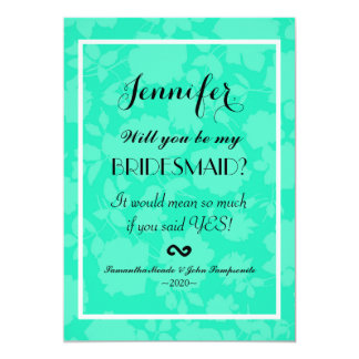 Elegant & Simple Two Tone Teal Floral Pattern Card