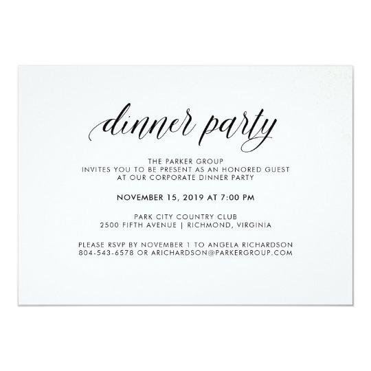 Elegant Simple Typography Dinner Party Corporate Invitation