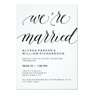 elegant simple typography post wedding ceremony card - Post Wedding Reception Invitation Wording
