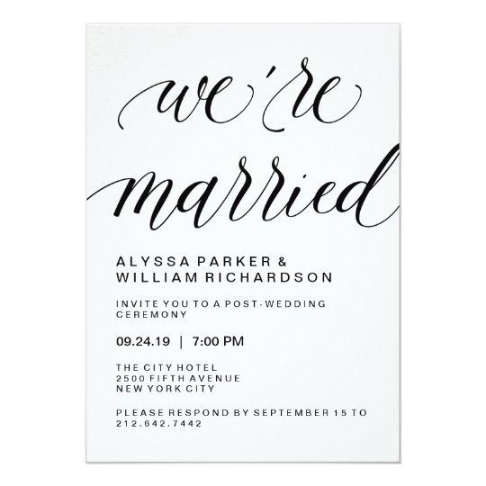 Elegant Simple Typography Post Wedding Ceremony Card