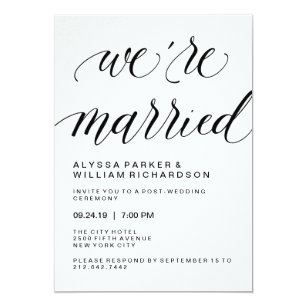 Elegant Simple Typography Post Wedding Ceremony Invitation