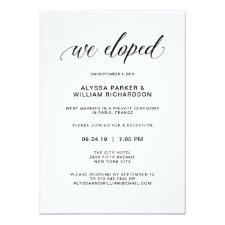 Elegant Simple Typography We Eloped | Reception Card