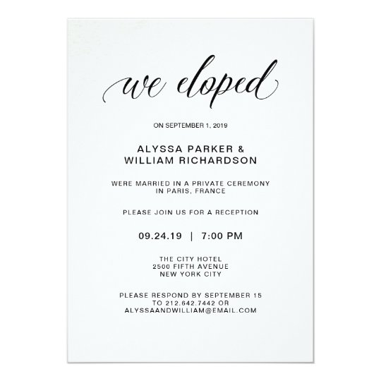 we eloped elopement wedding announcement cards marriage reception
