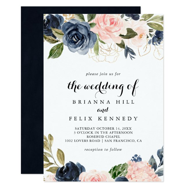 Elegant Simple Unique Winter Floral The Wedding Of Invitation