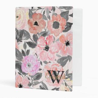 Elegant simple watercolor floral mini binder