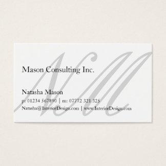 Elegant Simple White Monogram Business Card